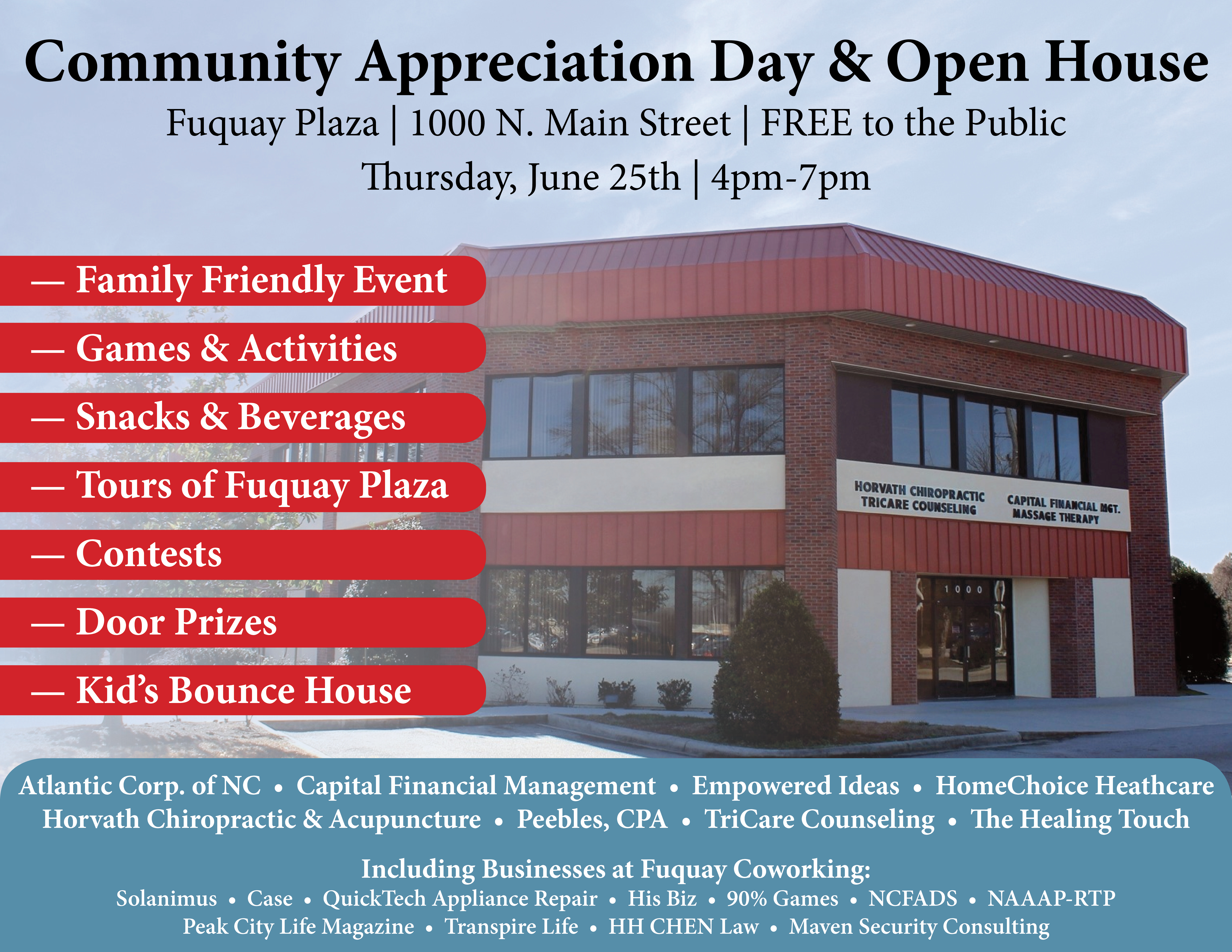 Fuquay Coworking and Fuquay Plaza 2015 Open House on June 25