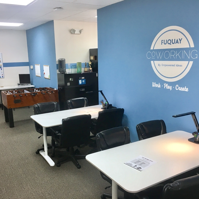 Fuquay Coworking Common Shared Desk Area