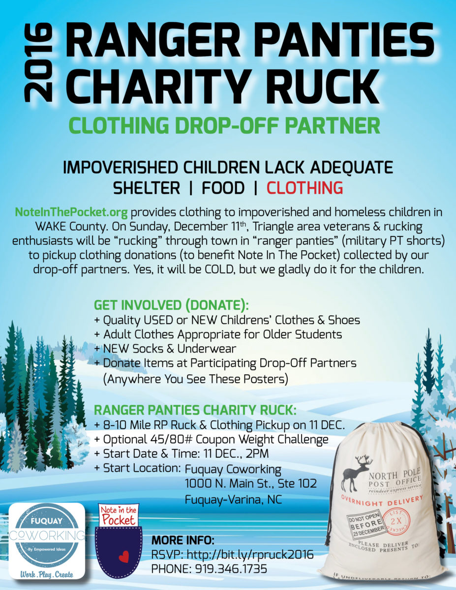 Fuquay Coworking Hosts 2016 Ranger Panties Charity Ruck to Benefit